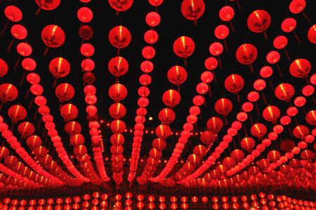 Rows of Lantern light up in Chinese Temple photo