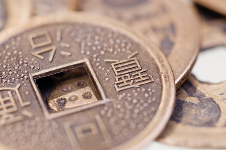 Old chinese coin close up photo