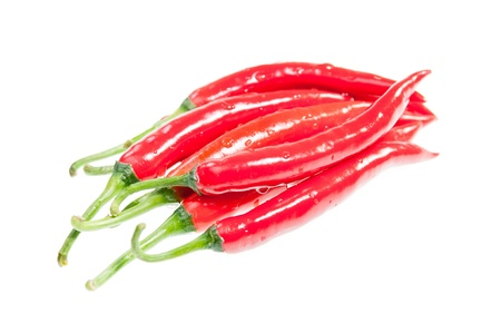 intense flavor: Green stems of fresh red chilies isolated on white background