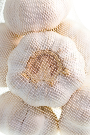 A bag of garlic from the grocery store photo