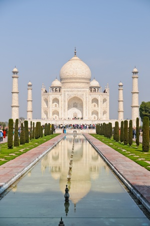 The Taj Mahal is a mausoleum located in Agra, India, built by Mughal emperor Shah Jahan