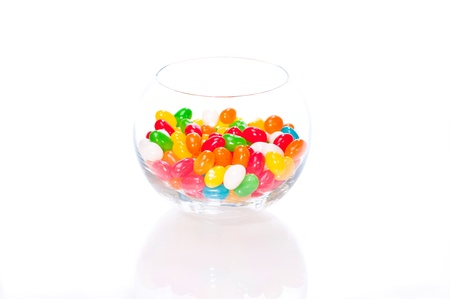 Colourful jelly beans in a glass bowl isolated on white background Stock Photo - 11150837
