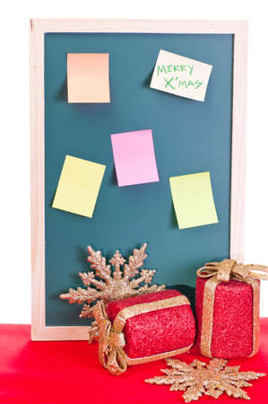 Christmas notice board with colorful sticky notes photo