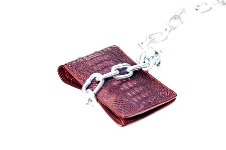 Brown wallet a chain indicating no more spending photo
