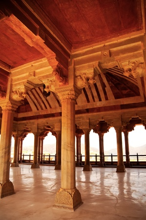 Hall of collums at Amber fort. Jaipur, India photo