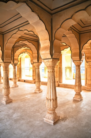 Hall of columns at Amber Fort  Jaipur, India photo