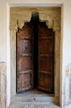 Old door at the red fort jaipur, india