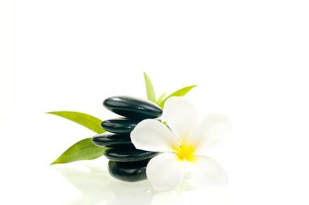 Black zen stone with white flower with bamboo background photo