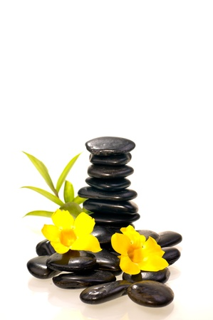 Stack of black zen stones with a bamboo plant and yellow flowers Stock Photo