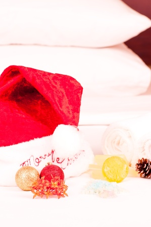 holiday stress: Christmas holiday spa concept with soap and bath salts in a hotel