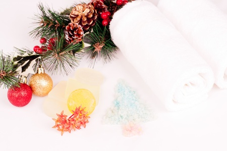 holiday stress: Christmas holiday spa concept with soap and bath salts  Stock Photo