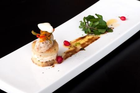 amuse: Fish rillettes amuse bouche with pomegranate and fresh basil Stock Photo