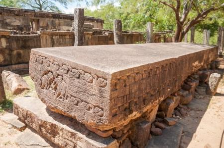 Gal Potha inscription or stone book in ancient city of Polonnaruwa, Sri Lanka