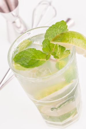 Mojito cocktail with bar tools background Stock Photo - 17854859