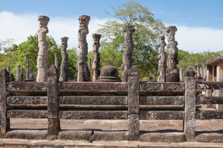 chanting: Nissanka Latha Mandapaya in ancient city of Polonnaruwa, Sri Lanka  The unique feature of the beautifully carved stone pillars and this edifice was used for listening to pirith chanting  Buddhist scriptures  Stock Photo