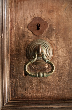 Ancient door knocker close up in Dambulla Cave Temple, Sri Lanka