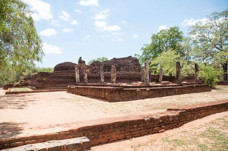 vihara: Potgul Vihara or Library Monastery side view in ancient city of Polonnaruwa  Stock Photo