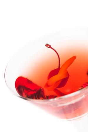 Manhattan cocktail top view close up