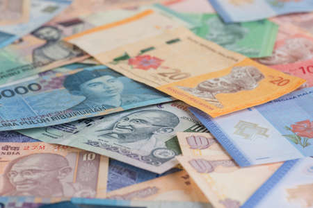Asian currencies background  photo