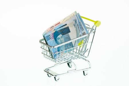 rupiah: Indonesian rupiah in shopping cart