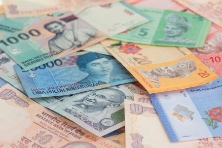Asian currencies of India, Indonesia and Malaysia  photo