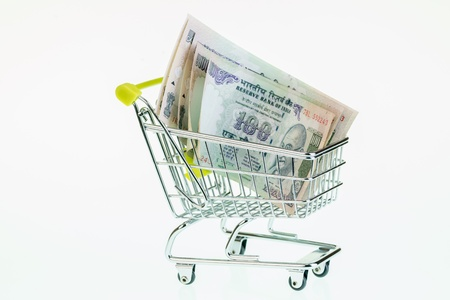 Indian rupees in shopping cart over white background