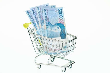 inflation basket: Indonesian rupiah in shopping cart