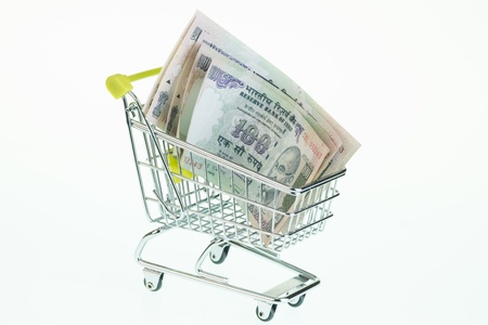 Indian rupees in shopping cart over white background photo