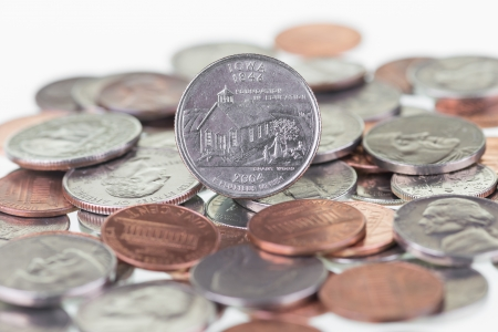 pluribus: Iowa State Quarter with coins extreme close up Stock Photo