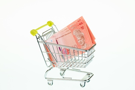 Malaysian ringgit in shopping cart over white background photo