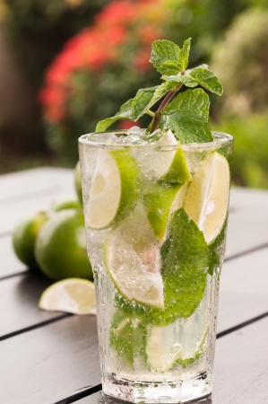 Mojito cocktail close up with a garden background  photo