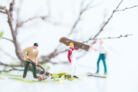 Miniature workmen cutting trees close up photo