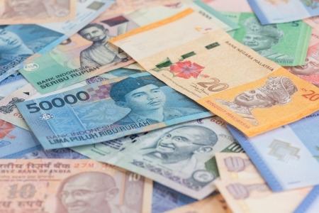 Asian currencies of India, Indonesia and Malaysia Stock Photo