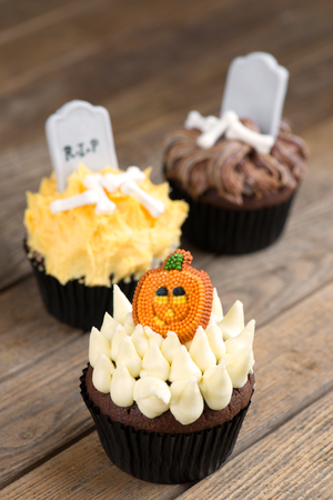 Three variation of Halloween cupcakes top view Stock Photo