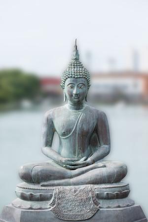 Buddha statue in Seema Malaka Temple in Colombo, Sri Lanka  photo