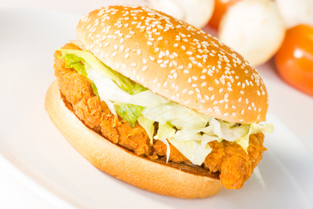 Crispy chicken burger close up  Stock Photo