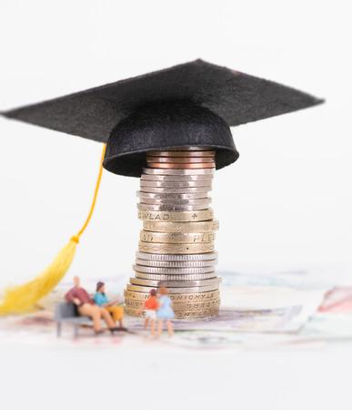 Miniature parents saving for their children future education