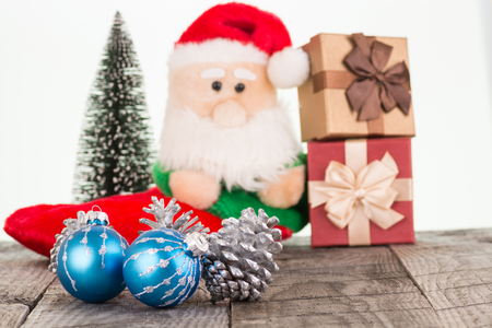 Christmas baubles and Santa Claus toy photo