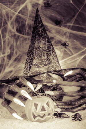 wood spider: Halloween witch hands and Jack-O-Lantern pumpkin ornaments in black and white