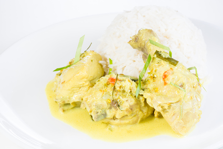 screwpine: Indonesian chicken cuisine which is known as Opor Ayam or Ayam Tuturuga Stock Photo