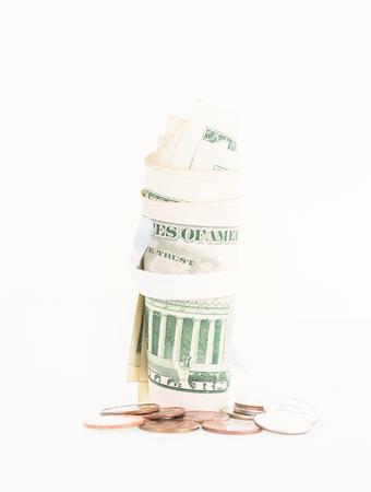 shoestring: Shoestring budget concept over white background