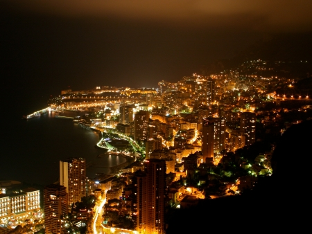 Cityscape of the principality of Monaco by Night Stock Photo - 22257354