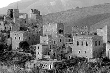 An old village in Greece  Houses were built as small fortresses to defend agains enemy photo
