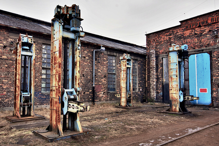 Industrial buildings and machinery in old rail yard Stock Photo - 22306968
