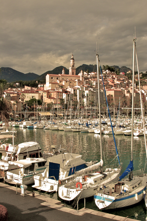 unharmed: Marina and the Old Town in Menton, France