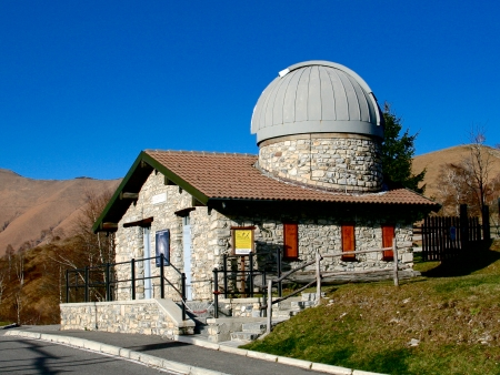 observations: Sormano Astronomical Observatory uses Cavagna Telescope to perform observations of asteroids and comets. Sormano, Como Province, Italy.