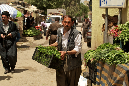 grocer: Grocer carrying vegetables to his stand on bazaar (market) in Iraq, Middle East. Editorial