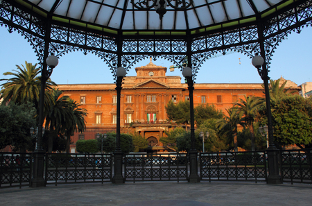 taranto: Uffizi Art Museum in Taranto, Italy. The building is framed by the gazebo at Garibaldi Plaza. The museum has a nice collection of Italian Renaissance paintings. Editorial