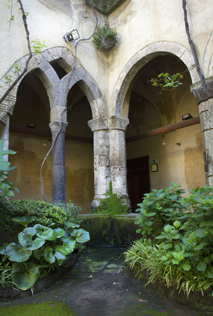 sorrento: Cloisters in Sorrento, Italy, with columns and arches. Built during Renaissance times to resemble a Biblical paradise.