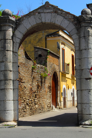 walled: The PortArsa in Benevento Campania Italy. The gateway is part of the walled city constructed during the medieval period. Stock Photo